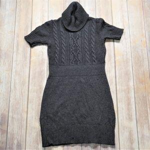 LOFT | Short Sleeve Turtleneck Gray Sweater Dress